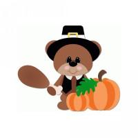 pilgrim bear holding turkey leg thanksgiving